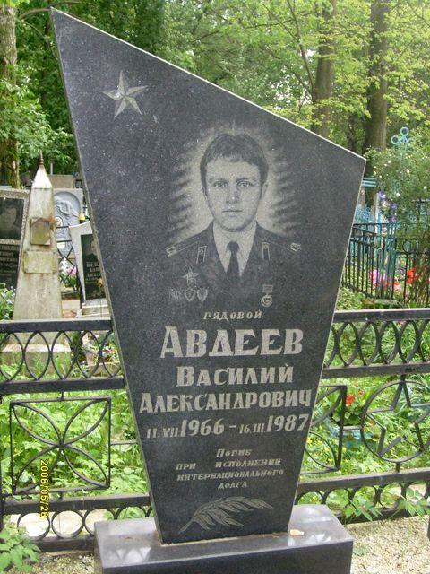 Могила воина-интернационалиста, рядового Авдеева Василия Александровича