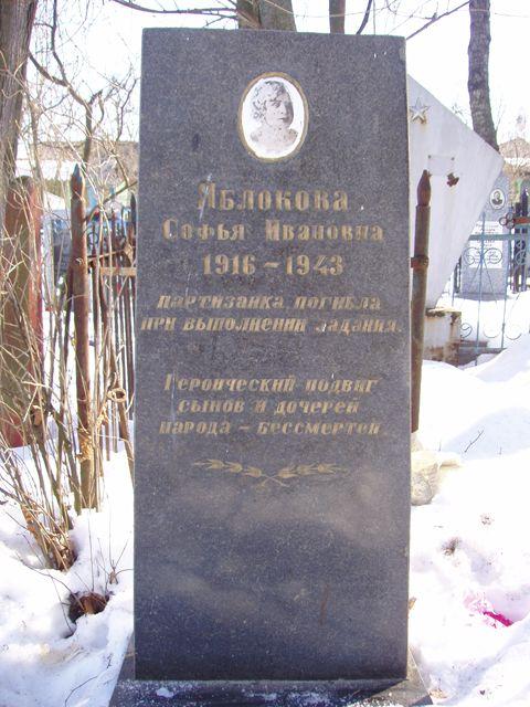 Могила партизанки Яблоковой Софьи Ивановны (Карабановское кладбище)